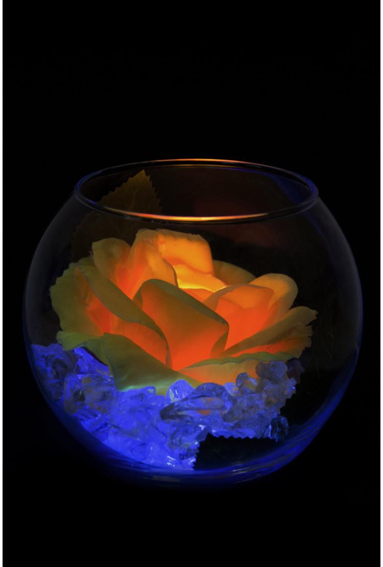 Ночник Роза в шаре Желтая (син)