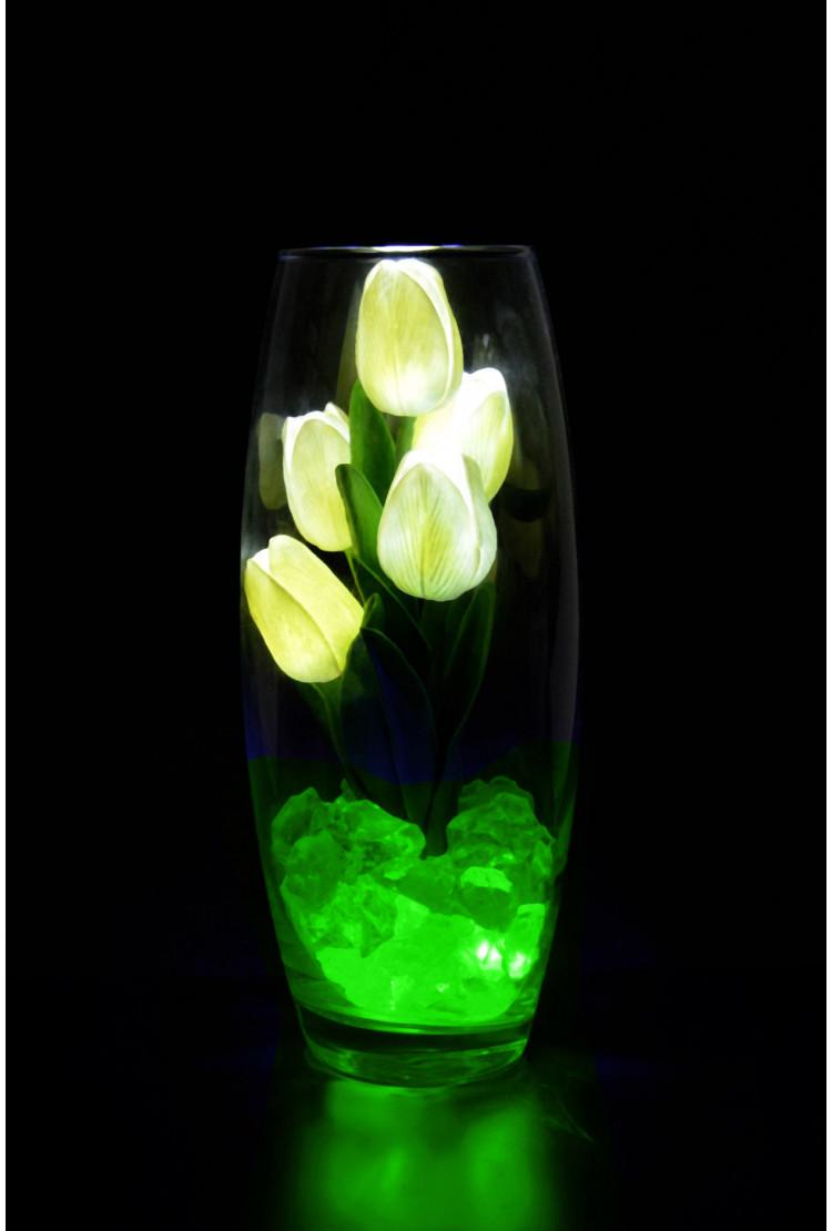 Светодиодные тюльпаны 5шт Белые(зел)