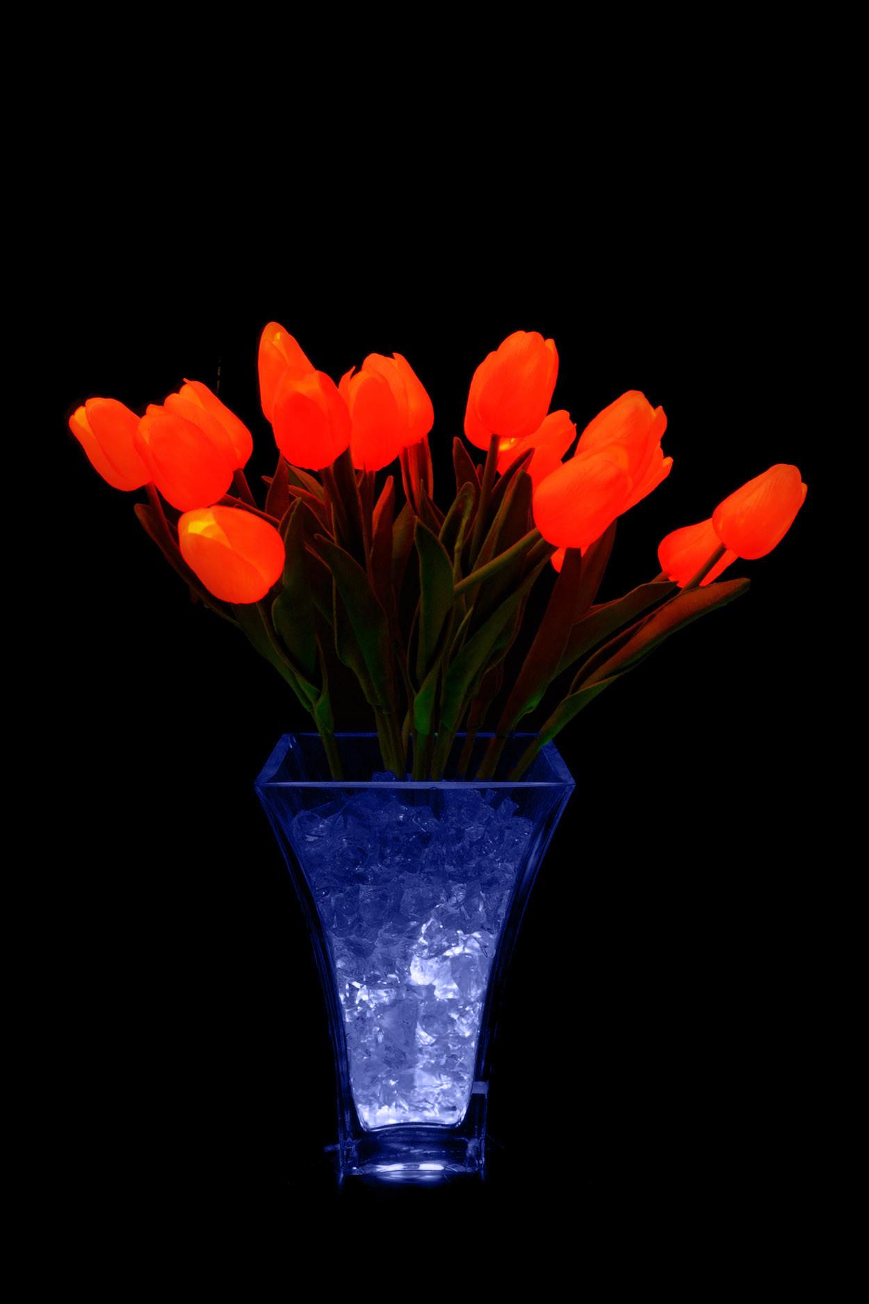 Светодиодные тюльпаны 21шт. красно-оранжевые (син)