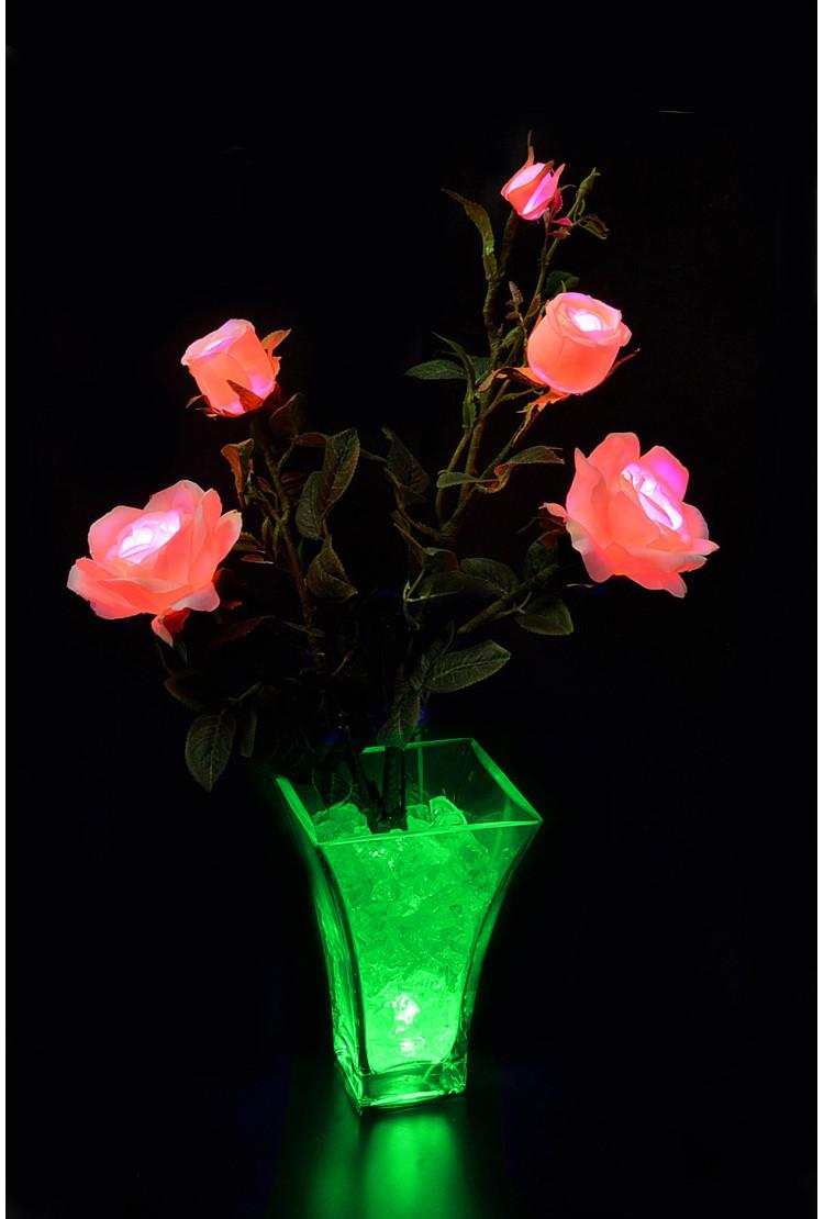 Светодиодные цветы Розы нежно Розовые (зел) 5 цветов