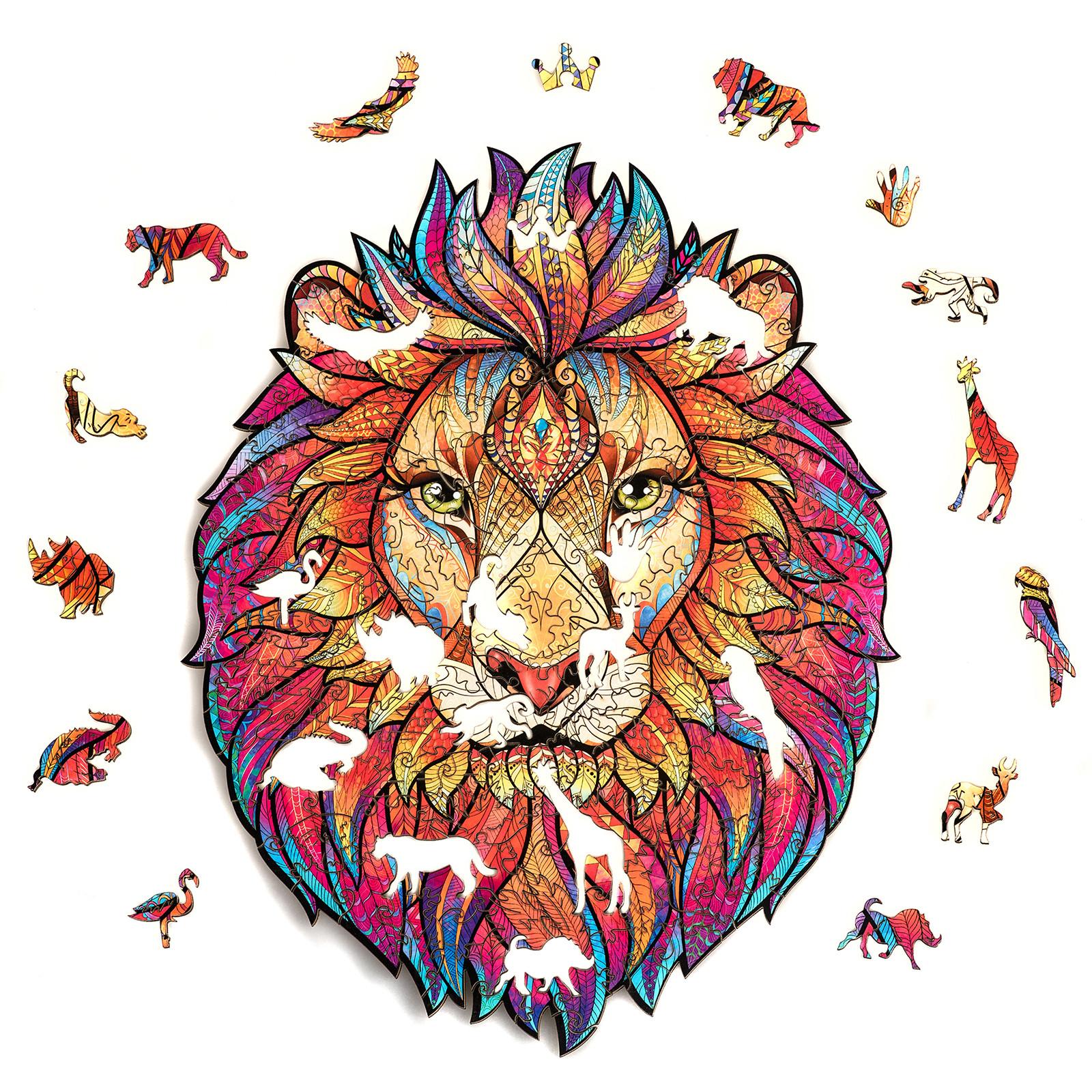 Unidragon деревянный пазл «Таинственный Лев» S (24х19) А5