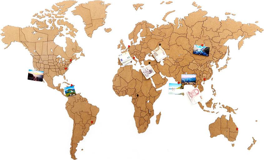 "Пазл карта ""World map true puzzle"" коричневая 100*60"