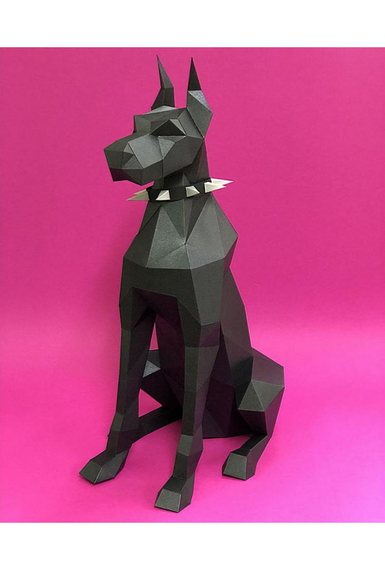 """3D Фигура """"Доберман"""", черный, набор для творчества"""