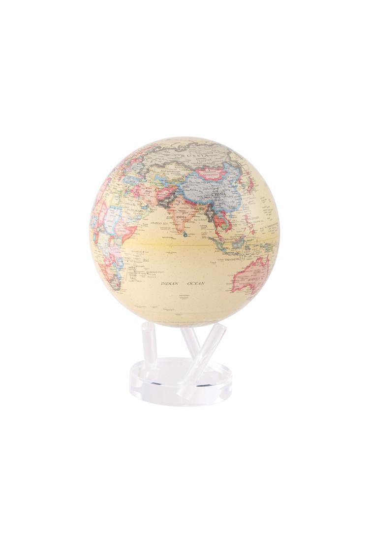 Самовращающийся глобус MOVA GLOBE d22 см с политической картой мира бежевый