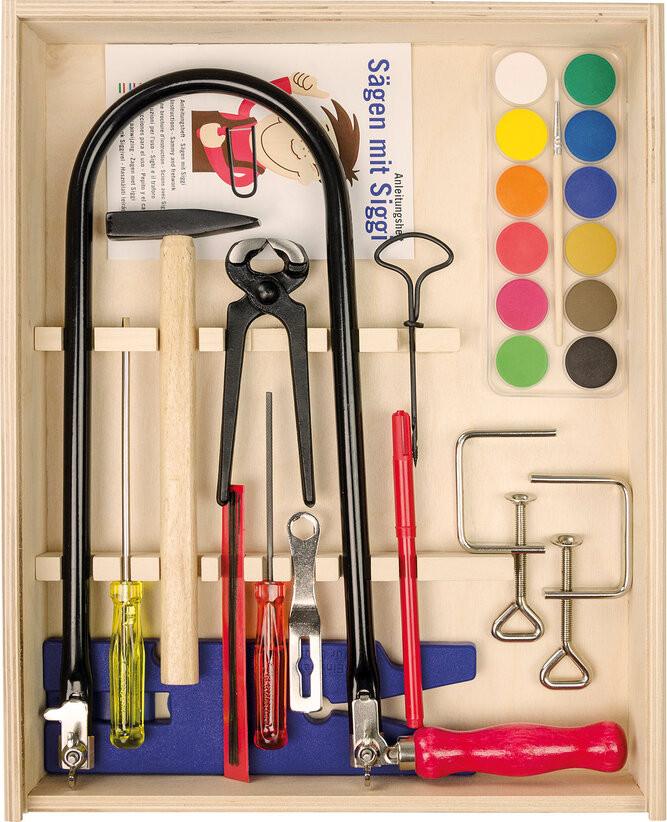 Ящик с инструментами для работы по дереву с лобзиком и струбцинами Pebaro (429S)