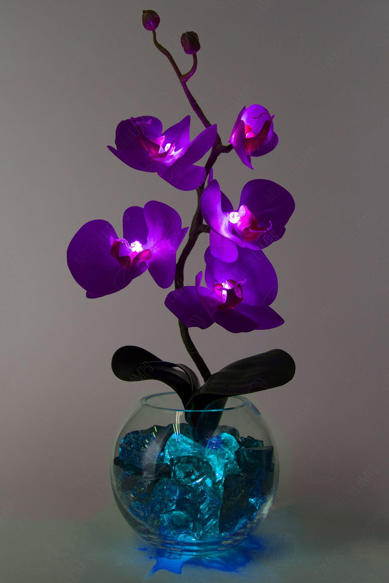 Светильник Орхидея фиолетовый(син) 5 цветков