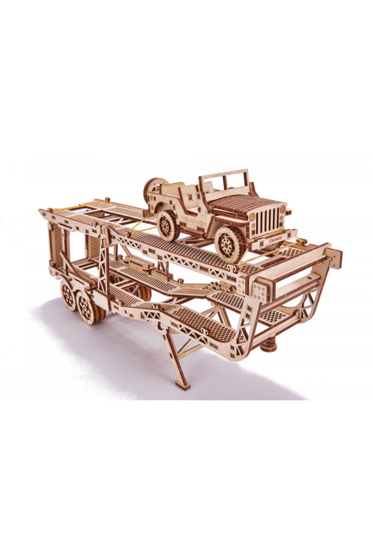 Механический 3D-пазл из дерева Wood Trick Прицеп Автовоз с джипом