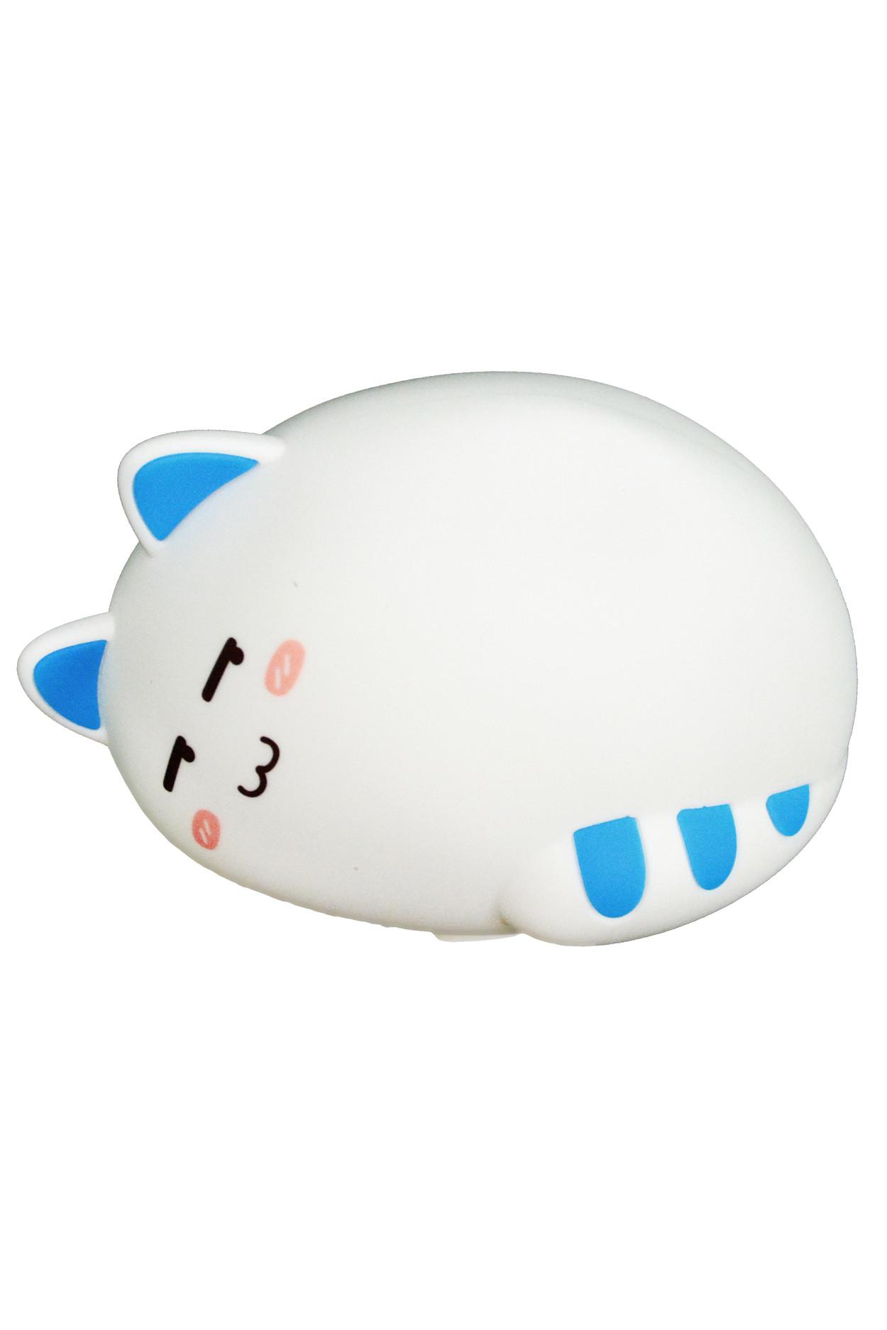 Силиконовый ночник -  спящий котик синий