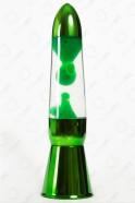 Лава-лампа 36см Зелёная/Прозрачная (Хром)