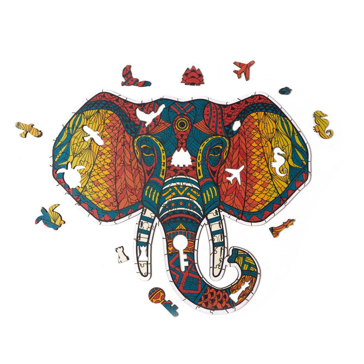Деревянный пазл Артвентура Слон тотем, 33х29 см, 193 деталеи