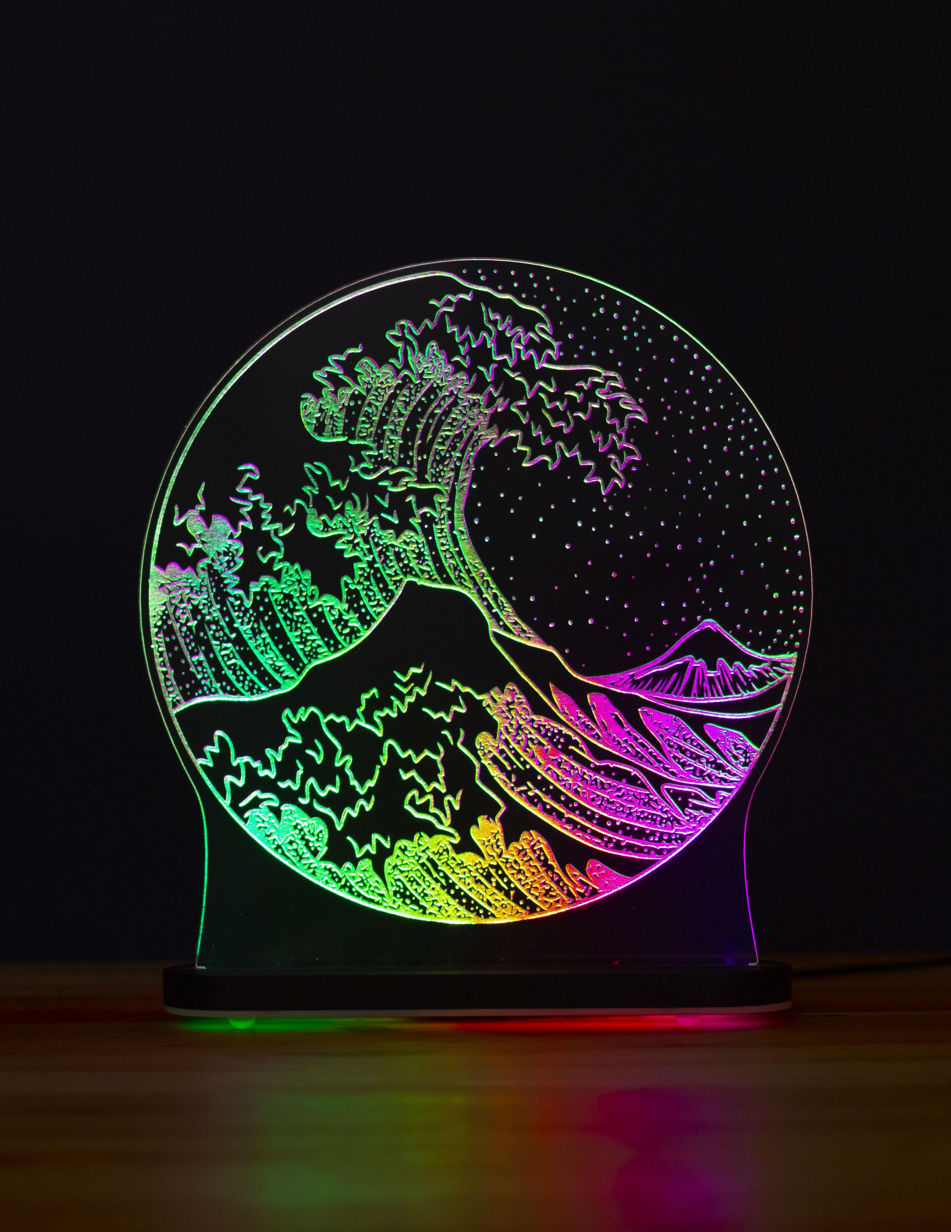 3D светильник Волна (21*20)
