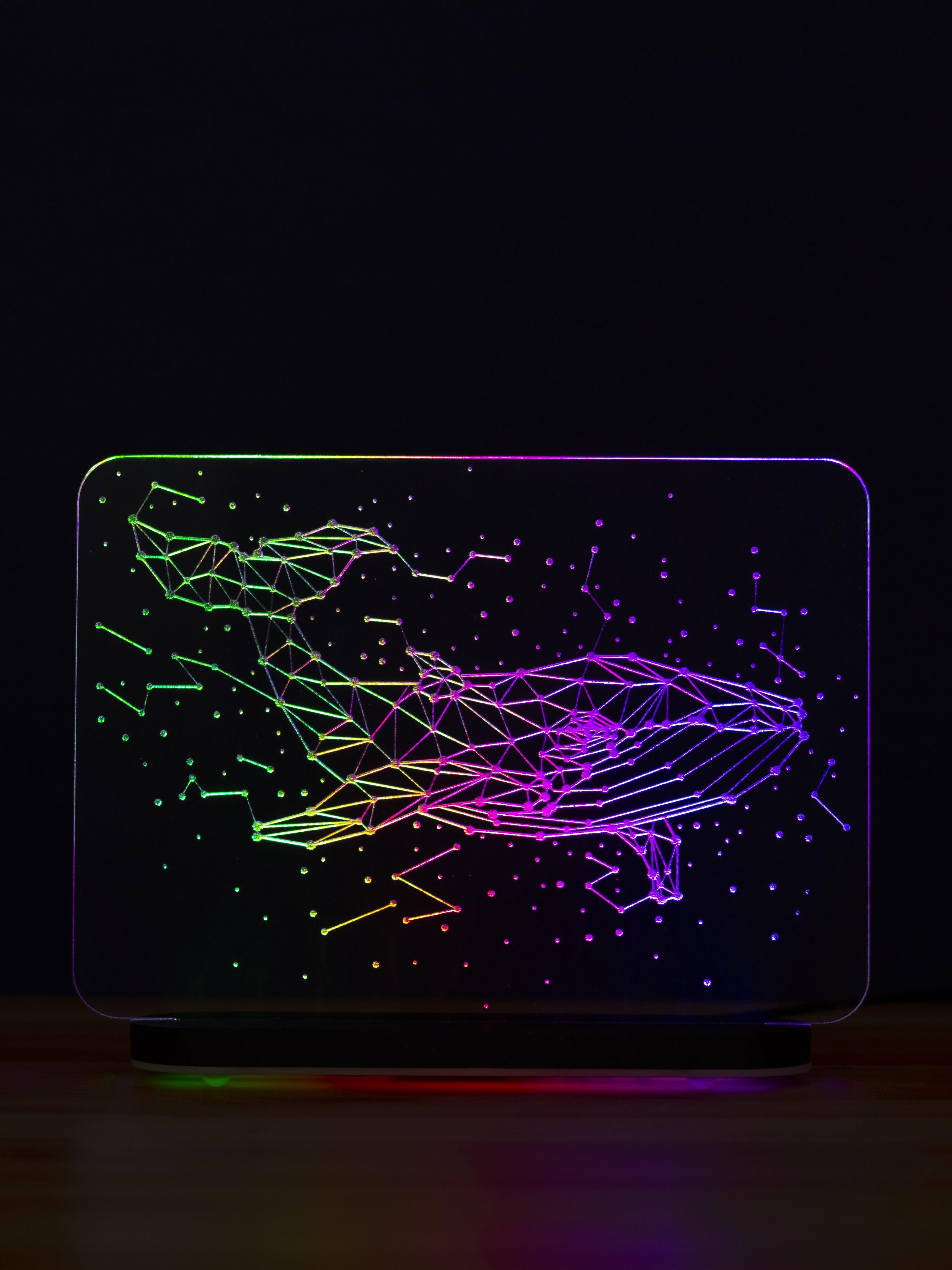 3D светильник Созвездие кита (21*17)