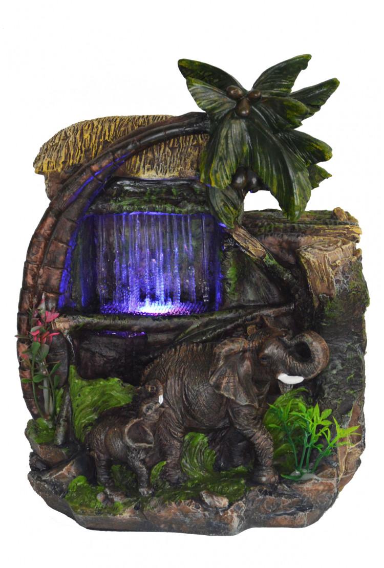 """Декоративный настольный фонтан """"Слон и слоненок 2"""""""